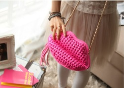 2013 new Fashion lady's candy color punk Rivet sexy kiss lips 's Clutch handbag with shoulder chain,tassel,free dropshipping(China (Mainland))