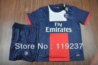 13-14 Paris Saint Germain home blue football jersey + shorts kits PSG soccer uniforms sport jerseys Embroidery logo