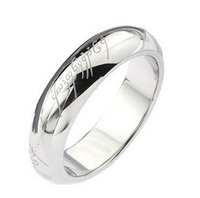 Size 5/6/7/8/9/10/11 The Lord of the Rings White Stainless Steel Band LOTR Ring Width 4mm Gift