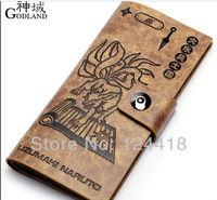 Free Shipping New Anime Naruto Uzumaki Naruto Kurama Long Wallet Cosplay Purse Leather High Quality