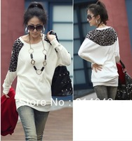2013 the new leopard grain splicing fashion leisure T-shirt, bat sleeve loose women's T-shirt,037