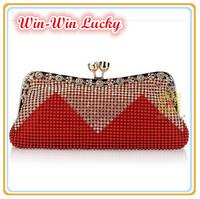 Best Prices Women Beaded Handbag Retro Fashion Diamond Aluminum Banquet Clutch Purse Chain Messenger Tote Evening Bag Multicolor