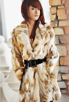 Free shipping 2014 new winter 100% real natural rabbit fur coat glass yellow color, mid-long . WTP3