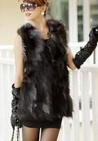 Free shipping  2014 new winter 100% real natural  fox fur vest medium-long vest TP2