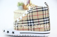 Free shipping new boy baby grid square toddler shoes kids footwear 2-color optional infant shoes 11cm 12cm 13cm