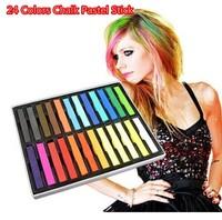 Free Shipping 24 Colors Chalk Pastel Stick Vermicelli Chalk Powder Brush Hair Chalk #1183