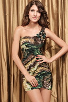 Blue racerback sleeveless fashion feather pattern slim one-piece dress 2527
