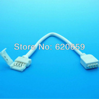 10mm 4 Pin Clamp Connector to Male 4 Pin Connector, 15CM Cable, LED RGB Strip IR Remote Controller Connection Cable, 100pcs/lot