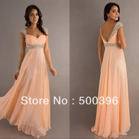 Hot Sale Elegant Beading Cap Sleeves Sweetheart Open Back Empire Chiffon Long Prom Dress Party Evening Gowns 2013 New Arrival