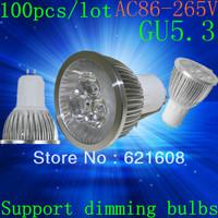 Free shipping 100pcs/lot High power GU5.3  15W 12W 9W 220v Dimmable Light lamp Bulb LED Downlight Led Bulb Warm/Pure/Cool White