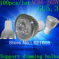 Free shipping 100pcs/lot High power GU5.3  15W 12W 9W 220v Dimmable Light lamp Bulb LED Downlight Led Bulb Warm/Pure/Cool White