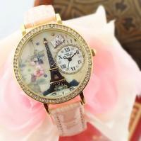 Mini 2014 women's polymer clay watch vintage rhinestone sheet Eiffel Tower ladies girls gift Vogue Relogio Relojes wristwatches