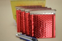 Free shipping  red aluminum foil bubble envelope mailers 18*16cm,metallic bubble bags just stock 200pcs
