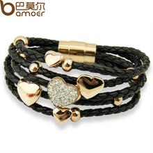 Free Fast Shipping Leather Wrap Rhinestone Charm 18k Rose Gold Plated Heart Bracelet Black for Women Fashion Jewelry PI0698(China (Mainland))