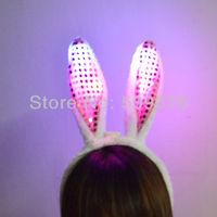 Free shipping 100pcs/lot 4color Rabbit Ear Head Band flashing  led bunny ears led headwear for Party