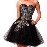 Hot Strapless Satin Embroidery&Sequins Black Mini Cocktail Dress Off the Shoulder Sweetheart Lace up Prom Gown dresses 20-LF135