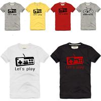 2013 men's designer brand new fashion 100% cotton T-shirt short-sleeve game controller t-shirt sports casual T-shirt hip hop