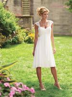 Free Shipping informal wedding dress under $100 cap sleeves knee length custom made bridal gown