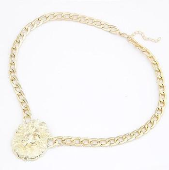 N338 Europe Street major suit Fan Bingbing with queen lion head temperament short necklace!#1236