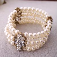 Fashion accessories pearl women's multi-layer elastic bracelet accessories free shipping