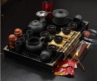 2015 Instocked Hot sale Ordovician tea set yixing ceramic kungfu tea set 27pcs solid wood tea tray kungfu tea set