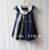 2013 new  4 colors  classical sweet plaid dress  kids Girl Baby dress princess dress summer dress gift high quality cotton