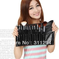 Free Shipping  Cosmetic Facial Make up Brush Kit Makeup Brushes Tools Set + Leather Case  12pcs  B038