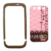 Brown and Pink Polka Dot Pattern Hard Case with Red Heart Love Design For Samsung Galaxy S3 III i9300 (Android)