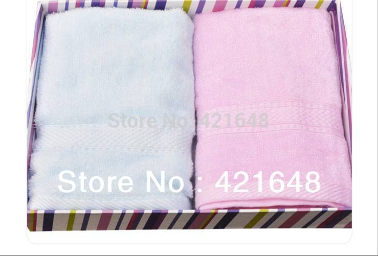 Hot sale! Bamboo fiber bath towel 70 * 140cm free shipping 2pcs/lot pink&blue(China (Mainland))