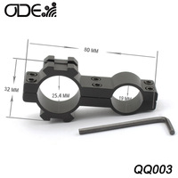 "Free Shipping Odepro metal Barrel Clamps 1"" inch 25.4mm hunting mount bracket  weaver picatinny  19mm rail barrel mount"
