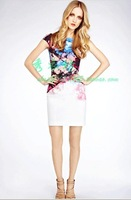 drop shipping British style km prothorax pressure pleated print one-piece dress dl222