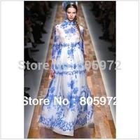 Free Shipping 2014 New Summer Silk Brand Lace Print Vintage Floor-Length Ladies' Fashion Dress Women' Casual Beach Dresses1335