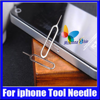 Wholesale 100Pcs/lot Free Silver Color SIM Card Eject Tool Needle Pin For Apple Iphone 2G 3G 3GS 4G 5GS Ipad Accessories Suit