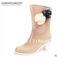 Free shipping Fashion 2013 female high-heeled boots rain boots knee-high rainboots camellia beige