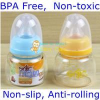 BPA Free non-toxic Baby juice feeding bottle glass non-slip anti-rolling unbroken by thermal shock 80ml free shipping