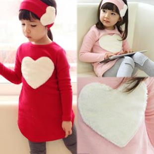 2014 Cute Loving Heart Girl's Suit Blouse+Leggings+Hairband Children's Clothing Sets 2 Colors BB002