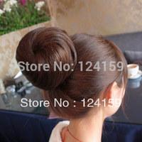 100% human hair balls Costume wig bun meatball head wig bag wig bud head hepburn real hair free shipping