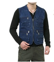 Men's V-neck denim bags of clothes fishing vest quinquagenarian plus size plus size photography vest plus xl-5xl