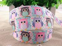 2013 new arrival 7/8''  22mm owl pink printed grosgrain ribbon cartoon ribbon animal ribbon 10 yards