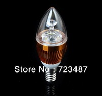 5Pcs/Lot E14 3w Bridgelux White/Warm white Candel LED Light Blub Lamp Energy saving AC85~265V