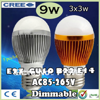 Factory diectly sale 5pcs/lot led Bubble Ball Bulb globe bulb E27 GU10 B22 E14 9W AC85-265V led Globe Light Bulb lamps Lighting