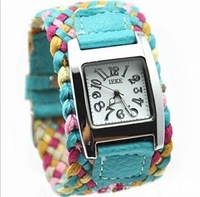 New 7 Colors Promotion Fashion Korea Rope Watch Braided Leather Cord bracelet watch.Lady watch. Free Shipping