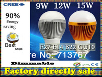 Factory diectly sale 10pcs/lot led Bubble Ball Bulb globe bulb E27 GU10 B22 E14 12W AC85-265V led Globe Light Bulb lamps