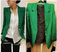 2015 Green / Hot Pink  Blazer Women Shrug Shoulder Suit Blazers Size SML