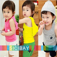 Fashion Summer Suits Kids Leisure Sets Baby Suits, Hooded Vests+ Casual Shorts, Free Shipping K0480