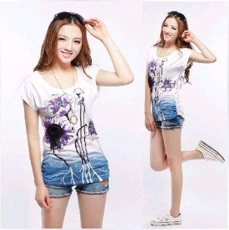 Free shipping 2014 summer plus size women's print t-shirt rhinestones mm o-neck loose batwing shirt short-sleeve T-shirt 4xl(China (Mainland))