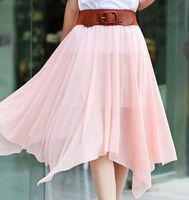 New Style Bohemia Spirit Chiffon Long Skirts With Belt Half-length Skirt Expansion Skirt Irregular Skirts Beach Resort Skirt Hot