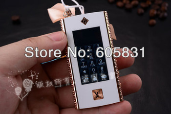 NEWEST 2013 unlocked Mini fsahion luxury cell phone Built-in 2GB  Ladies TOUCH SCREEN Mobile phone best gift chain Free shipping