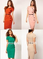 FIVE color +FOUR size Free shipping Formal button Pencil Vintage Pinup Bodycon Fitted Party Shift Sheath Dress with belt