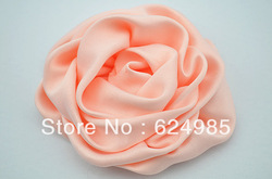 Trail order Free shipping 2.8'' pink Rosettes DIY rose satin silk carnation flower fabric flower hair accesories100pcs/lot(China (Mainland))